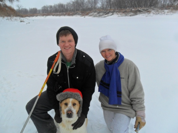 My mom, dog, and I on the river this winter.
